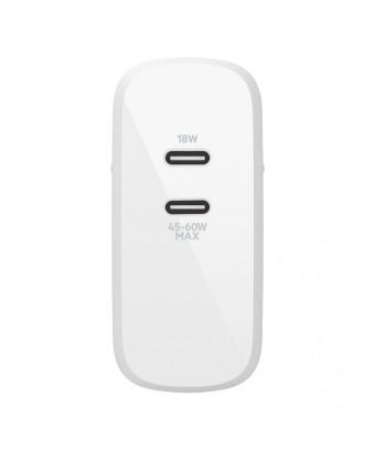 Chargeur secteur Belkin avec 2 ports USB-C PD BOOST CHARGE™ (18W) et (63 W)