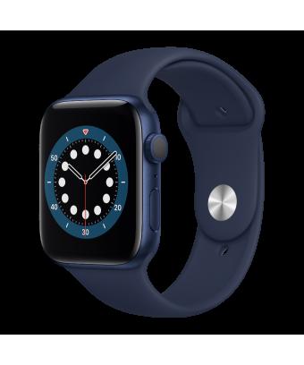 Apple Watch Serie 6 GPS 40mm Blue Aluminium avec Deep Navy Sport Band - side view