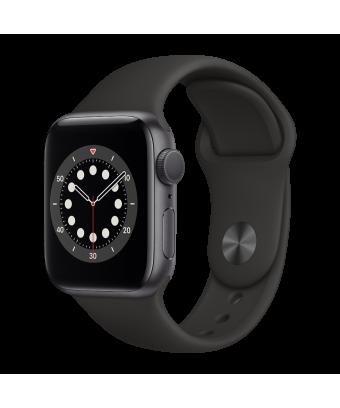 Apple Watch Serie 6 GPS 40mm Space gray Aluminium avec Black  Sport Band - side view