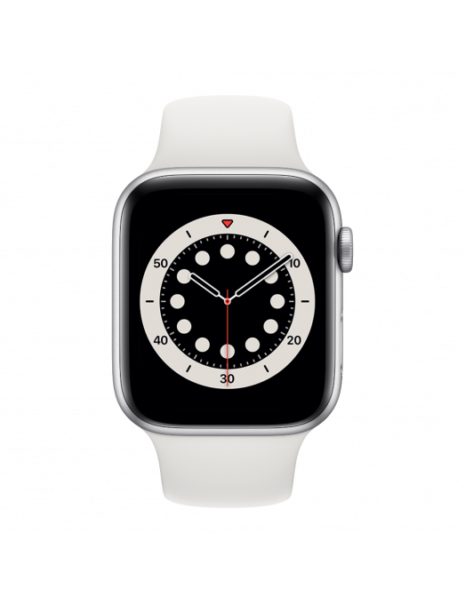 Apple Watch Serie 6 GPS 40mm Silver Aluminium avec white Sport Band - front view