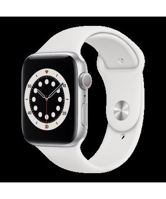 Apple Watch Series 6 GPS 44mm Silver Aluminium avec White Sport Band