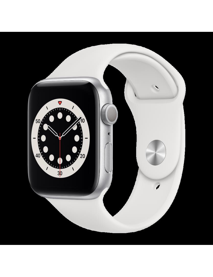 Apple Watch Serie 6 GPS 40mm Silver Aluminium avec white Sport Band - side view